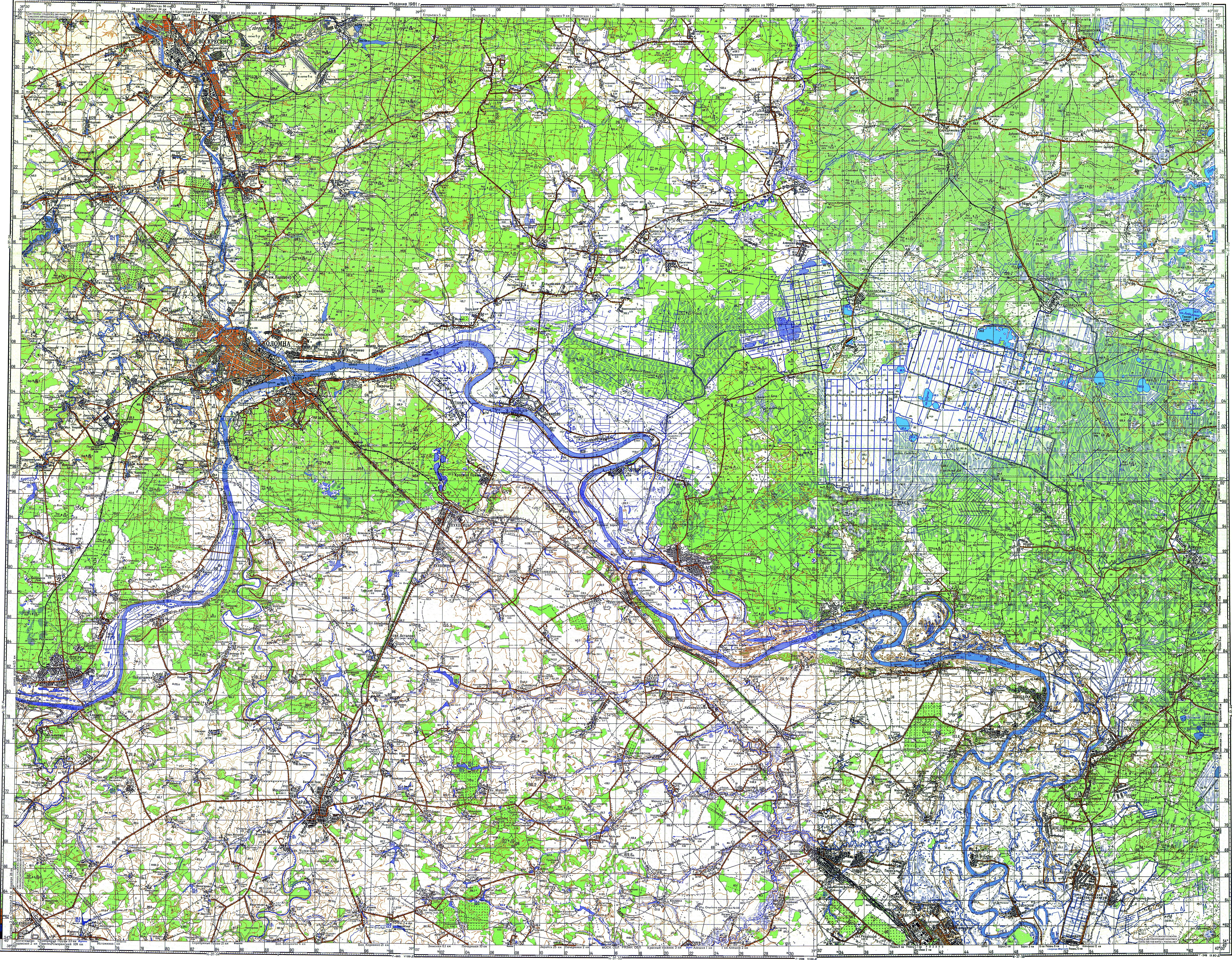 Топографическая военная карта Луховиц и прилегающих районов (масштаб 1:100000)